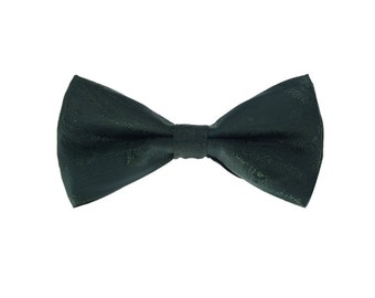 Dark Green Paisley Bow Tie.Green Wedding Bowtie. Green Silk Bow Tie.