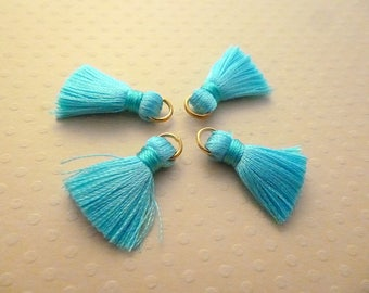Set of 4 20mm turquoise blue silk tassels