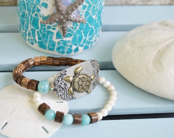 TURTLE BEACH BRACELET Set of Two Stacking Bracelets Coco Wood Amazonite White Magnesite Stretchy Bracelets