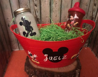 Mickey Mouse Gift Basket, Mickey Mouse Easter Basket, Custom Gift Basket, Mickey Mouse Gift Set, Personalized, Mickey Mouse, Jar Nightlight