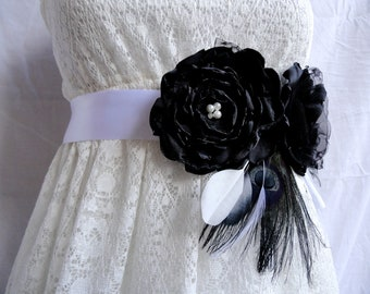 TRINA Black and White Fabric and Peacock Feather Flower Bridal Wedding Sash, Maternity Sash