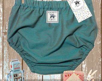 Baby Bloomers, Bubble Shorts, Baby Pants, Teal Green, Knickers, Indian Cotton, Spruce, Retro Bottoms, diaper cover, preemie to 6