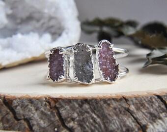 Silver Druzy Cuff, Silver Druzy Bracelet, Druzy Cuff, Druzy Jewelry, Statement Cuff, Triple Stone Cuff, Natural Stone Cuff, Purple Cuff