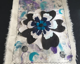 Hand Torn Painted Canvas Journal Page/Panel Mixed Media CollageFabric Flowers Purple Turquoise Black 6 x 8
