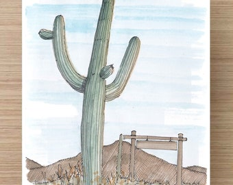Ink and Watercolor Drawing of Saguaro Cactus in Tucson Arizona - National Park, Desert, Landscape, Sketch, Art, Pen and Ink, 5x7, 8x10