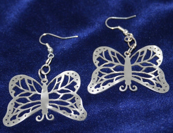 Butterfly Stainless Steel dangly Earrings (one of a kind)