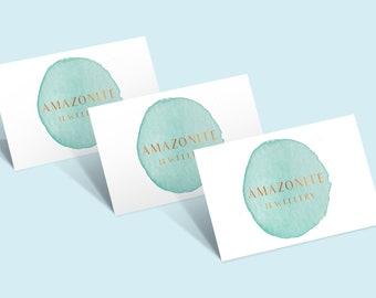 Watercolour Business Card Design, Green Business Card, Luxury Business Card, Gold Foil Lettering, Premade Card, Custom Card, Digital