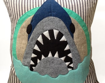 Felt Applique Shark Pillow Case