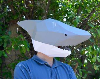 Shark Mask - Papercraft Template | Animal Mask | Instant Download | Masquerade Mask | Halloween Mask | Paper Mask | DIY Mask