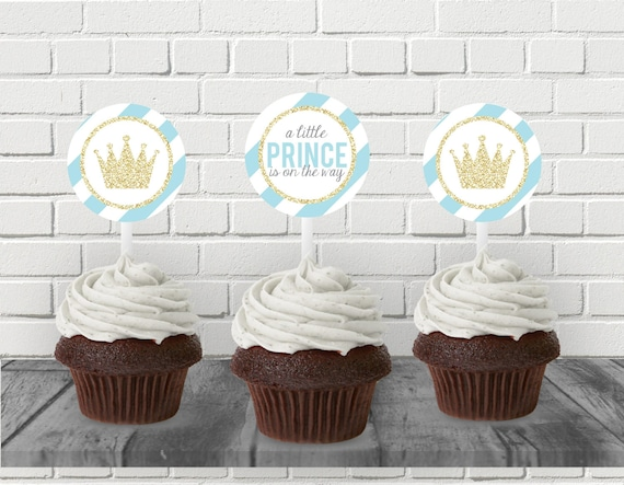 Little Prince Cupcake Toppers, Little Prince Baby Shower, Boy Baby Shower  Printables, Blue And Gold Shower, Little Prince On The Way Shower From ...
