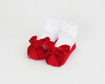 0-12 months - Newborn Baby Girl Famcy Socks with Red Velvet Bow, Baby Shoes, Special Occasion Baby Socks, Baby Gift