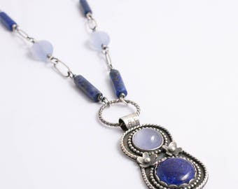 Lapis Lazuli and Chalcedony Pendant Necklace, Silver and Blue Pendant Necklace