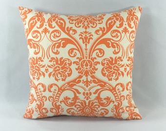 Orange Damask Throw Pillow Cover  - Abigail Mandarin Print - Decorative Throw Pillow Cover - Accent Pillow - Premier Prints - Hidden Zipper