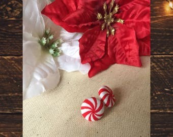 Red and white peppermint twist candy; fabric button stud earrings; Christmas ; festive; holiday; sale; bogo; 1.5 cm