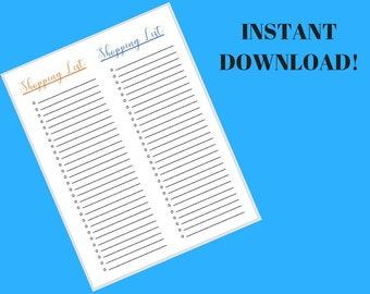 Printable shopping list/downloadable shopping list