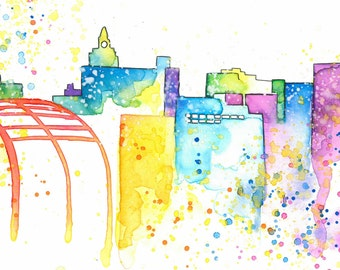 "Youngstown, Ohio Watercolor ""Original Painted Print"""