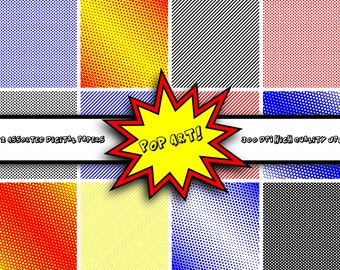 Pop Art Digital Paper - Digital Scrapbooking Paper Pack - INSTANT Download - Commercial Use (Cu) - Digital Scrapbook Paper