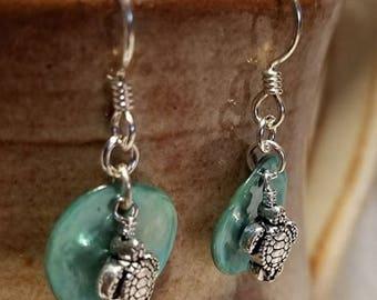 Handmade Earrings - Sterling Earwires, SEA TURTLES