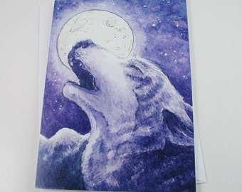 Art Greeting Card Set 4, Wolf Song, Howling Wolf Watercolor Painting by Victoria Chapman
