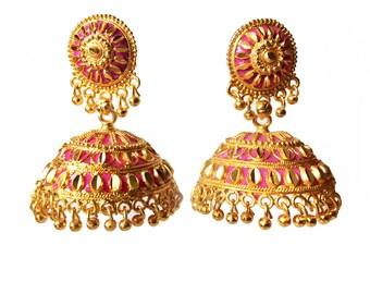 Pink & Gold Jewelry,Jhumka Earrings,Large Bollywood Jhumkas,Celeb style jhumki,Indian Ethnic Earring,bridal gold earrings by Taneesi ZJ138P