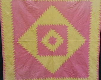 Now 20% off ANTIQUE SAWTOOTH QUILT, sherbet pink, lemon, hand sewn, Diamond in a Square, crisp, 80 x 76
