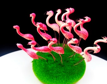 Set 5 pcs. Terrarium Mini Pink Flamingo Stake Miniature Dollhouse Fairy Garden accessories