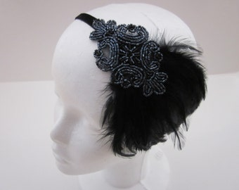 Gray 1920s headband, great gatsby headpiece , black feather black fascinator, flapper headband gray grey dress gatsby 1920s hair accessories