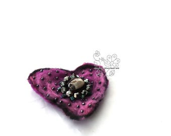 Heart purple felted hair jewelry clip textil art brooch fiber art flower hairbun boho style boheimian accessory unique gift