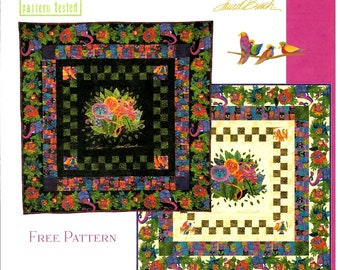 """Black Wild Ones Flannel Quilt Kit 54"""" x 54"""" by Laurel Burch Clothworks Cotton Fabric - Free shipping U.S."""