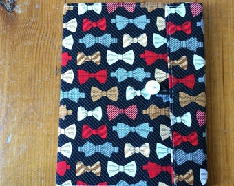 Bowtie Fabric Covered Composition Book Cover - with pen and composition book, fabric covered notebook