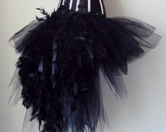 Black Swan Tutu skirt Burlesque  all sizes avaliable  feathers