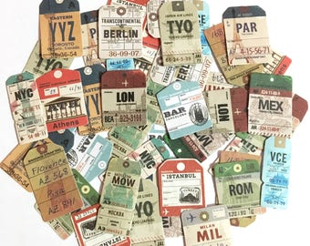 45 Pcs Vintage Luggage Tag Sticker, Travel Tag Sticker Flakes, Ticket Travel Journal, Scrapbook, Baggage Strap Tag Schedule Stickers,Country