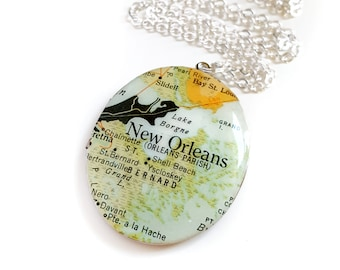New Orleans Map Necklace on a Large Silver Locket, Vintage Oval Locket, Louisiana, Vintage Map, Travel Jewelry, Gift for Her, Ready to Ship