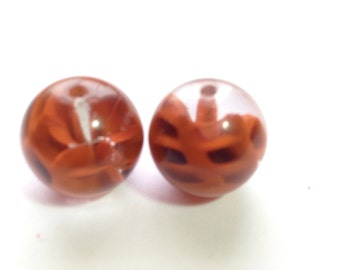 2 Vintage Glass Beads Marble Like Clay Encased Cobweb Givre Czech Lampwork 15mm No. 24G