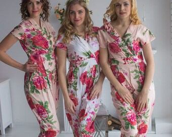 Collared Style Jumpsuit - Bridesmaids Jumpsuits - Blush Fuchsia Large Floral Blossom Pattern - Getting ready rompers, Robes Alternative