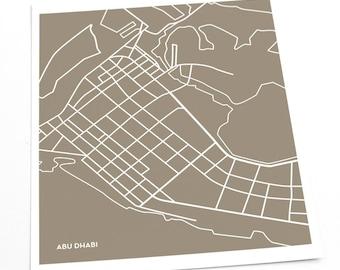 Abu Dhabi City Map Print / Geometric Art United Arab Emirates Modern Art / 8x10 Digital Print / Choose your color