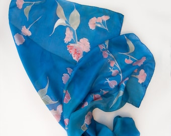 Cobalt blue silk scarf - Cherry blossom/ Hand painted scarf. Sakura  silk scarf shawl / Bridal shawl. Bridesmaids gift/Floral scarves unique
