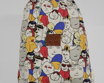 P Character-drawstring sack bag with Classic pocket