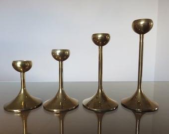 Set of 4 brass candle holders modernist minimalist 1970's 70's french vintage old brass candelsticks