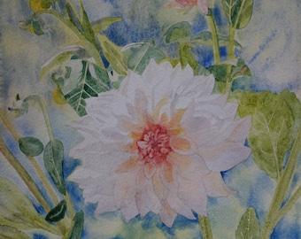 floral watercolor: orange dahlia