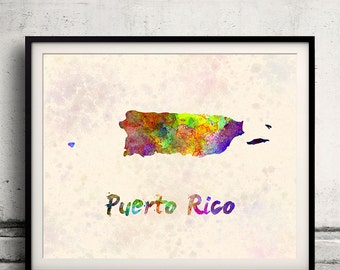 Puerto Rico - Map in watercolor - Fine Art Print Glicee Poster Decor Home Gift Illustration Wall Art Countries Colorful - SKU 1788