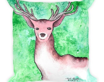 Stag Watercolor - Square Pillow