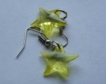 Dangle Clear Yellow Star Earrings   #342   Free Shipping within US