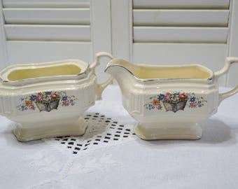 Vintage Sugar Bowl and Creamer Set Edwin Knowles Floral Design Planter Vintage China Dish Chippy PanchosPorch