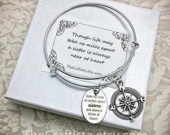 S12B, Sister Bangle, Sister Gift, Sisters Adjustable Bracelet, Sisters Jewelry, Sister Christmas Gift, Big Sis, Little Sis, Compass Charm