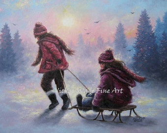 Sisters Sledding Art Print sledding, two sisters, two girls playing in snow children wall art snow paintings, winter art, Vickie Wade art