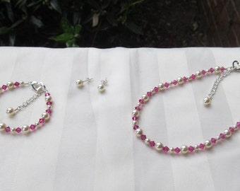 Flower Girl Jewelry Fuchsia Swarovski Crystals and Ivory Pearls Bridal Jewelry Set