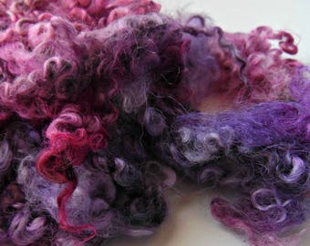 Wensleydale dyed locks pink and purple over natural silver