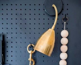 Adjustable brass light fixture, wall lamp, wall light, wall sconce, mint and brass led or hologen bulb, reading light