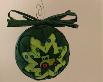 Green & Blue folded fabric handmade ornament with tractor decoration